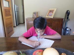 Doing homework at Dorie's Promise