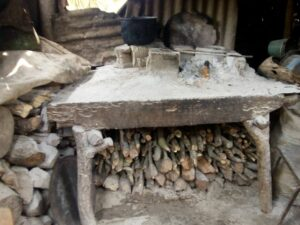 A rudimentary kitchen in the home of a San Nicolas resident.