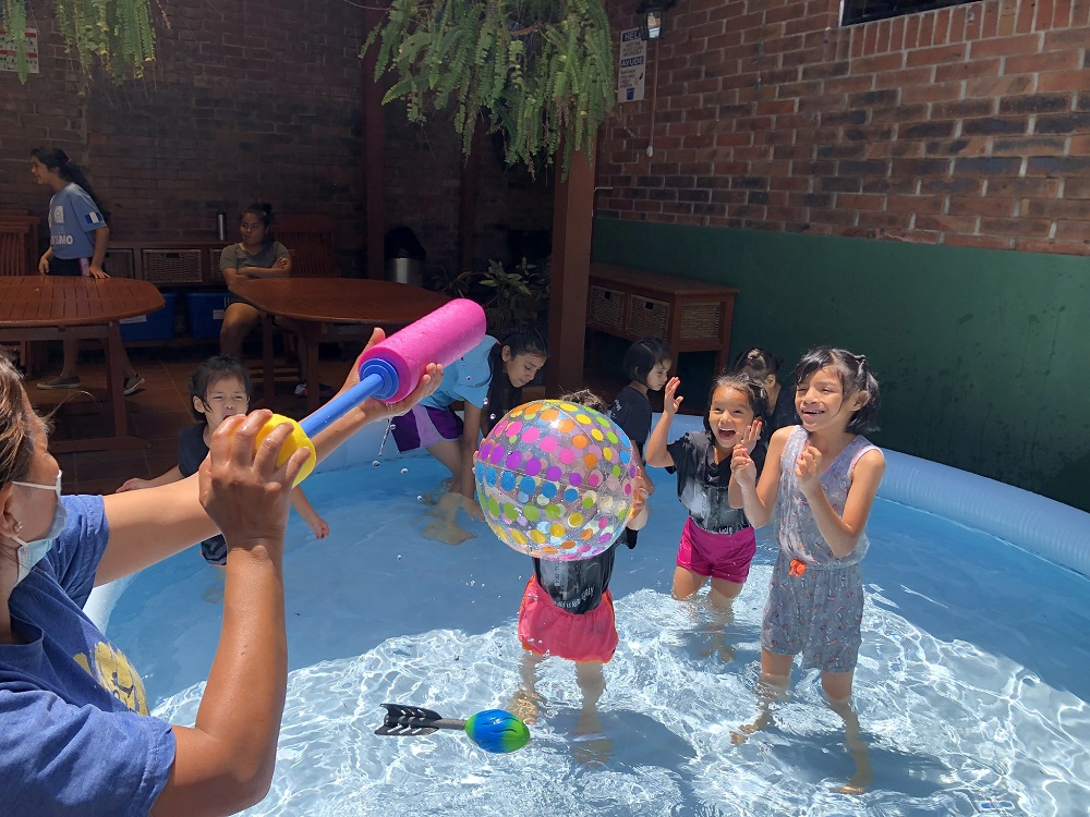Splash day at Dorie's promise children in an above ground pool.